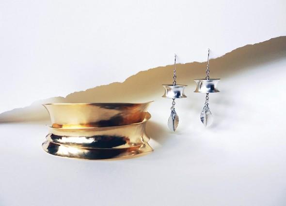 """Anticlastic Wrap Bracelet, Bronze, 2"""" x 4"""" x 4"""" & Kinetic Leaf Earrings, Sterling silver, 2"""" x .5"""" x .5"""""""