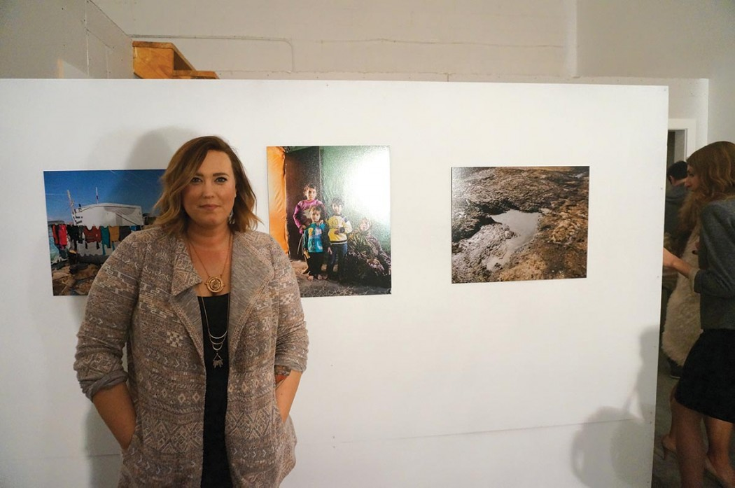 Exhibiting photographer Annika Baker at artist reception and talk at The Red Arrow Gallery