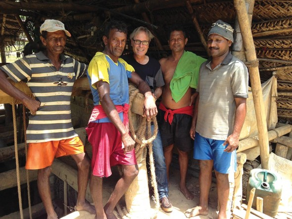 Wayne Roland Brown (center) with sapphire miners in Sri Lanka