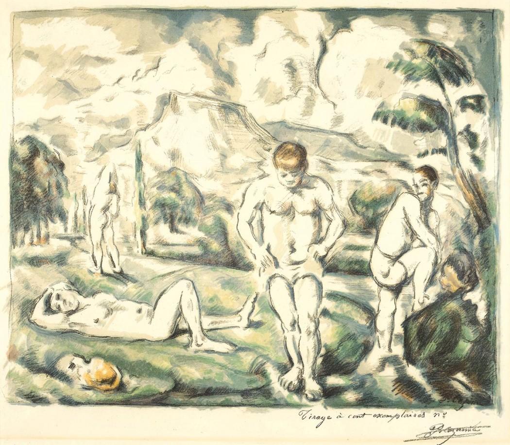 """Paul Cézanne, Les baigneurs, grande planche, c. 1896-1898, Color lithograph, 17"""" x 20"""""""