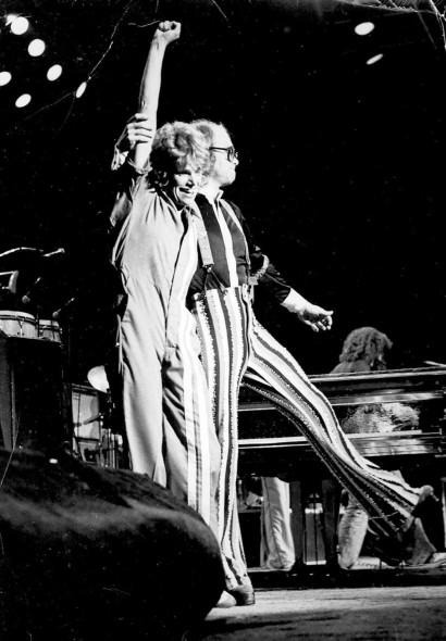 With Elton John in concert in 1975