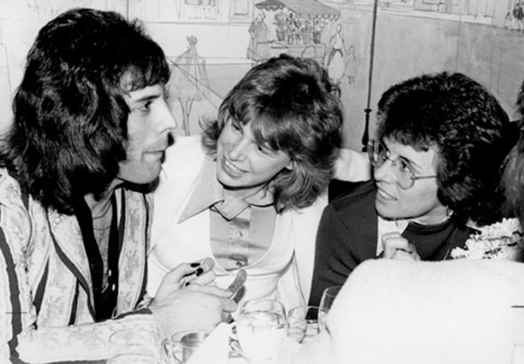 With Freddie Mercury and Billie Jean King in a Los Angeles restaurant after an Elton John concert in 1975