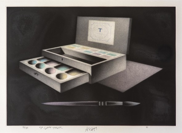 "Mario Avati (French, 1921–2009), T comme Turner, Color mezzotint, 11"" x 16"" Signed, numbered ""56 of 85"", dated ""1981"" and titled in pencil"