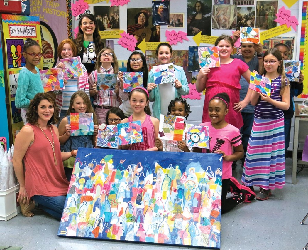 Artist Hannah Lane with Cassie Stephens' fourth grade class