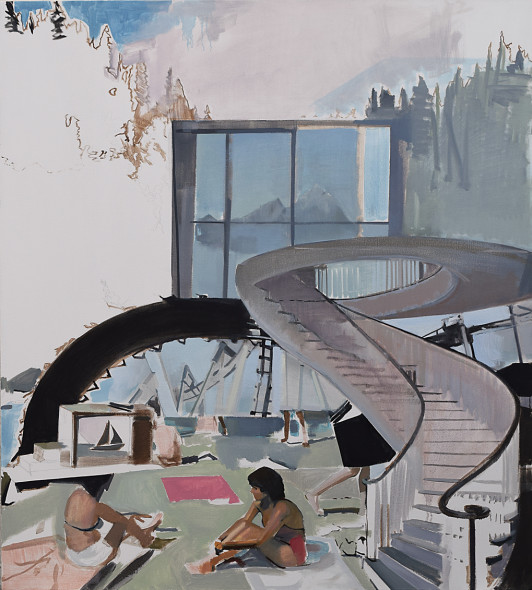 "Luncheon Near the Lakeside Staircase, Oil on canvas, 54""w x 60""h, 2016"