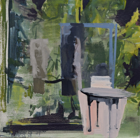 """Untitled#64(Statue withtable), Oil on canvas, 16"""" x 16"""", 2016"""