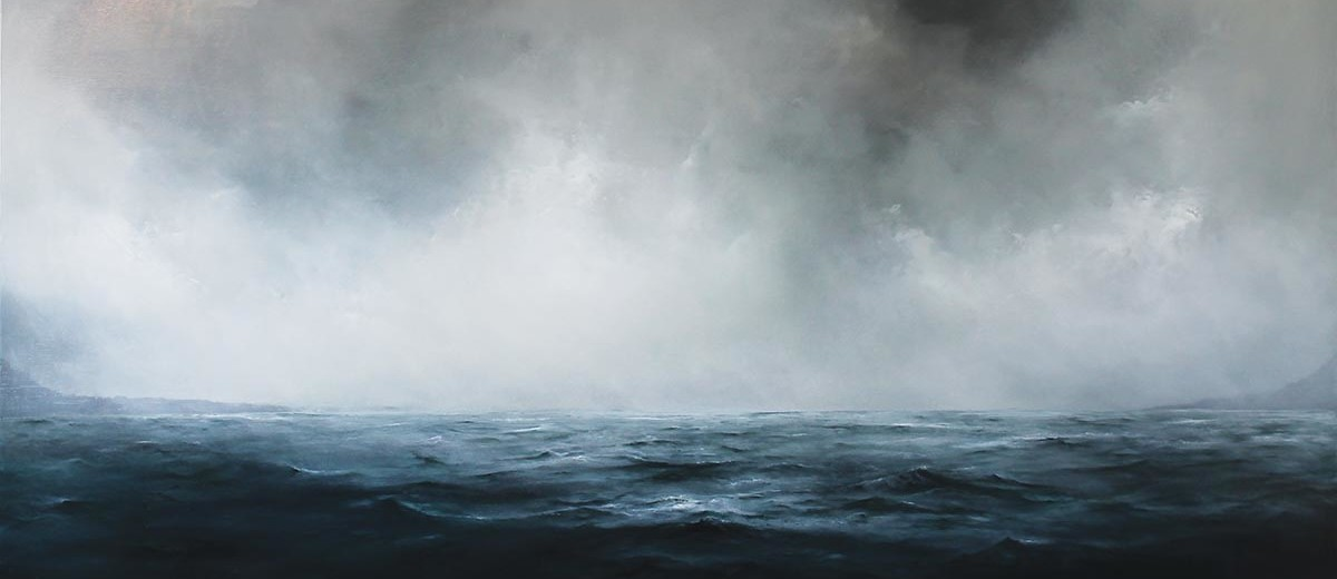"""Facing the Ledge, 2014, Oil on panel, 23""""x 48"""""""