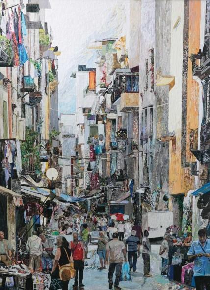 """Naples, 2015, Collage, 48"""" x 36"""""""