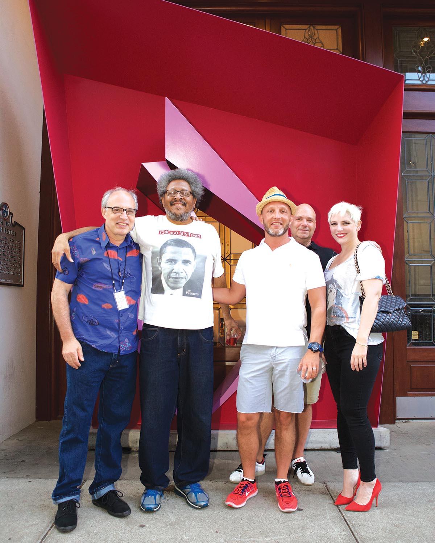 Edward Belbusti (creator of sculpture), Cass Teague, Rick Ryan, Steven Murff and Danielle Edwards on 5th Avenue