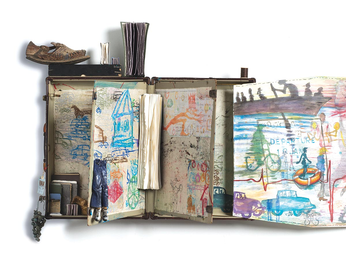 Andrew Saftel, How Will We Get There?, Pencil, oil pastel, watercolor on paper, found letters, objects and suitcase