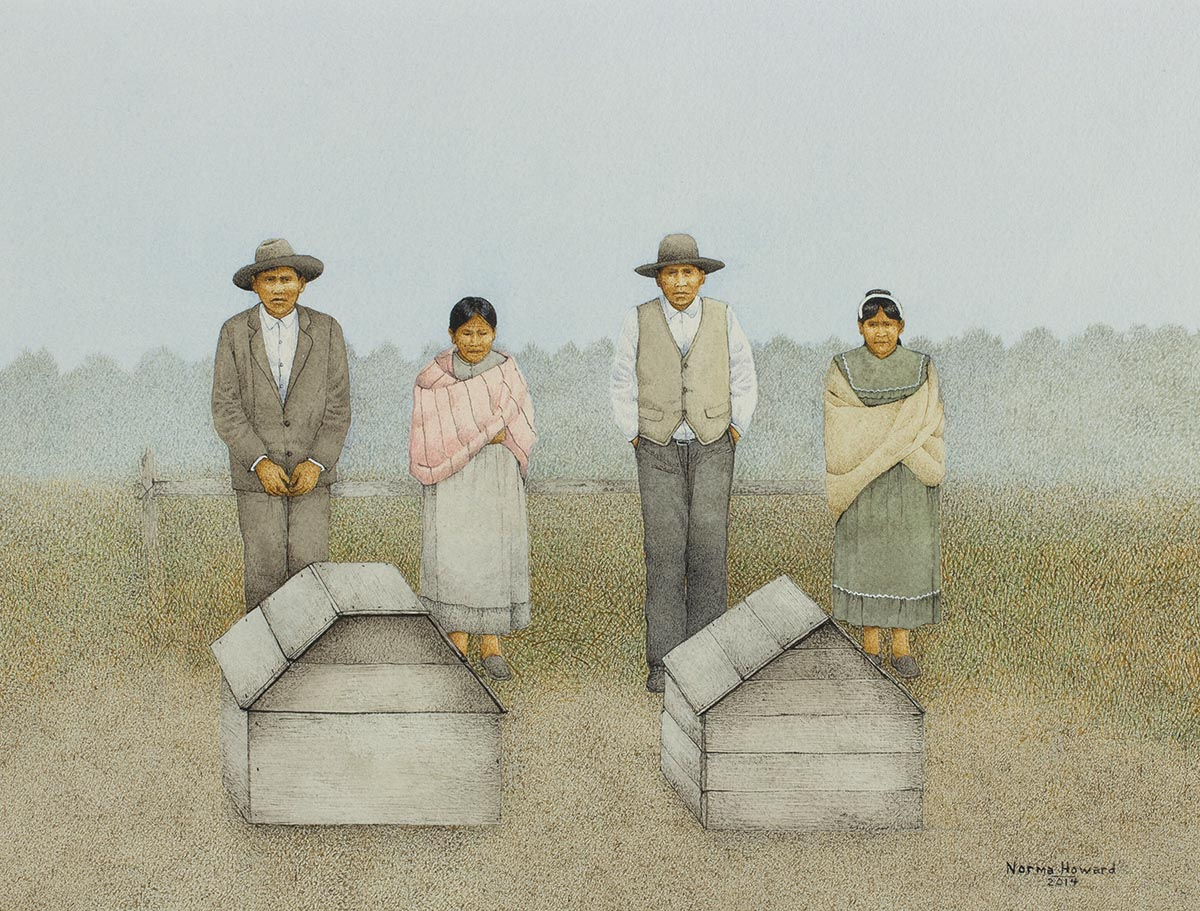 "Norma Howard (Choctaw/Chickasaw), Choctaw Burial, Watercolor on paper, 12"" x 18"""