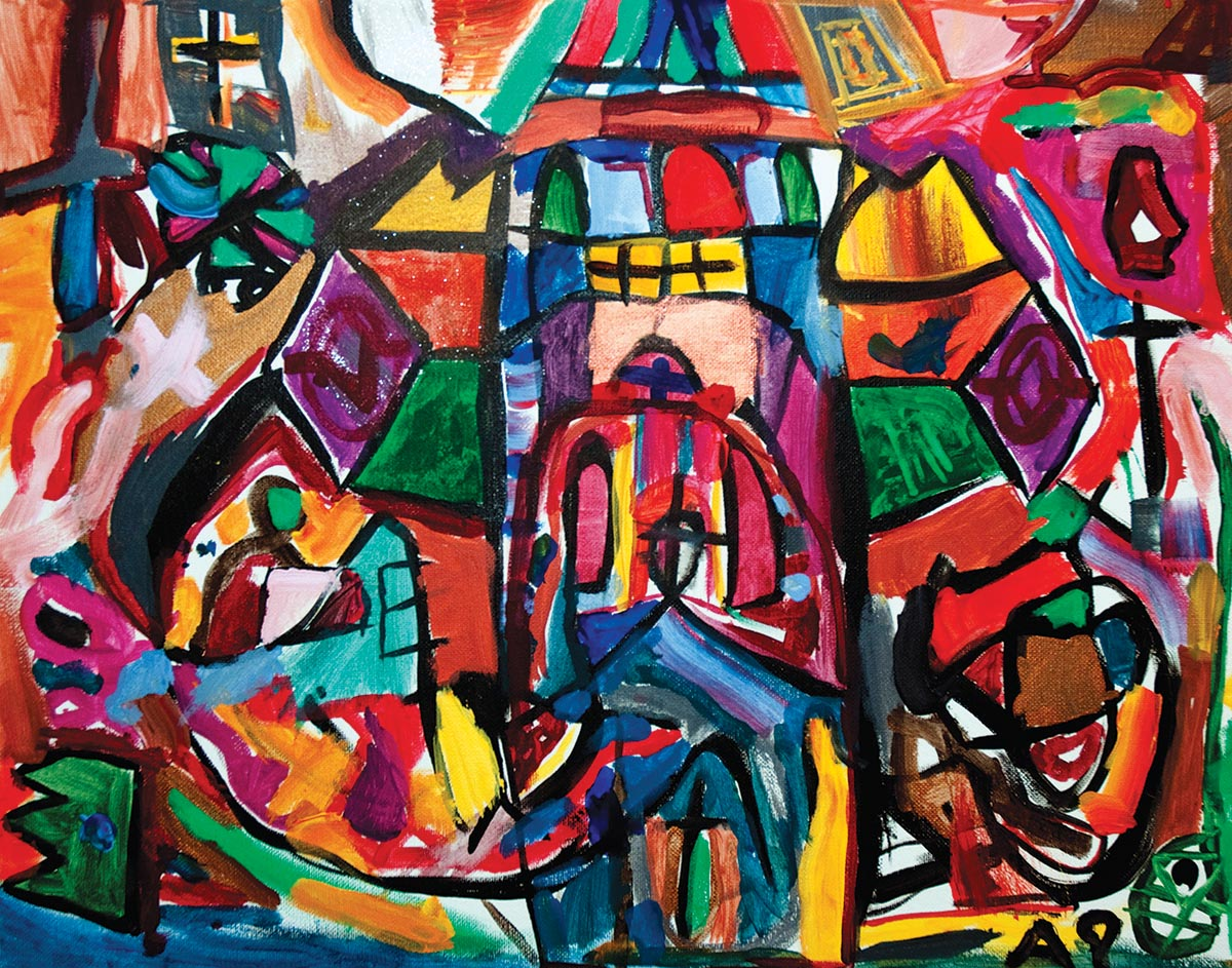 """Stained Glass Church, Five years old, Acrylic on canvas, 16"""" x 20"""""""