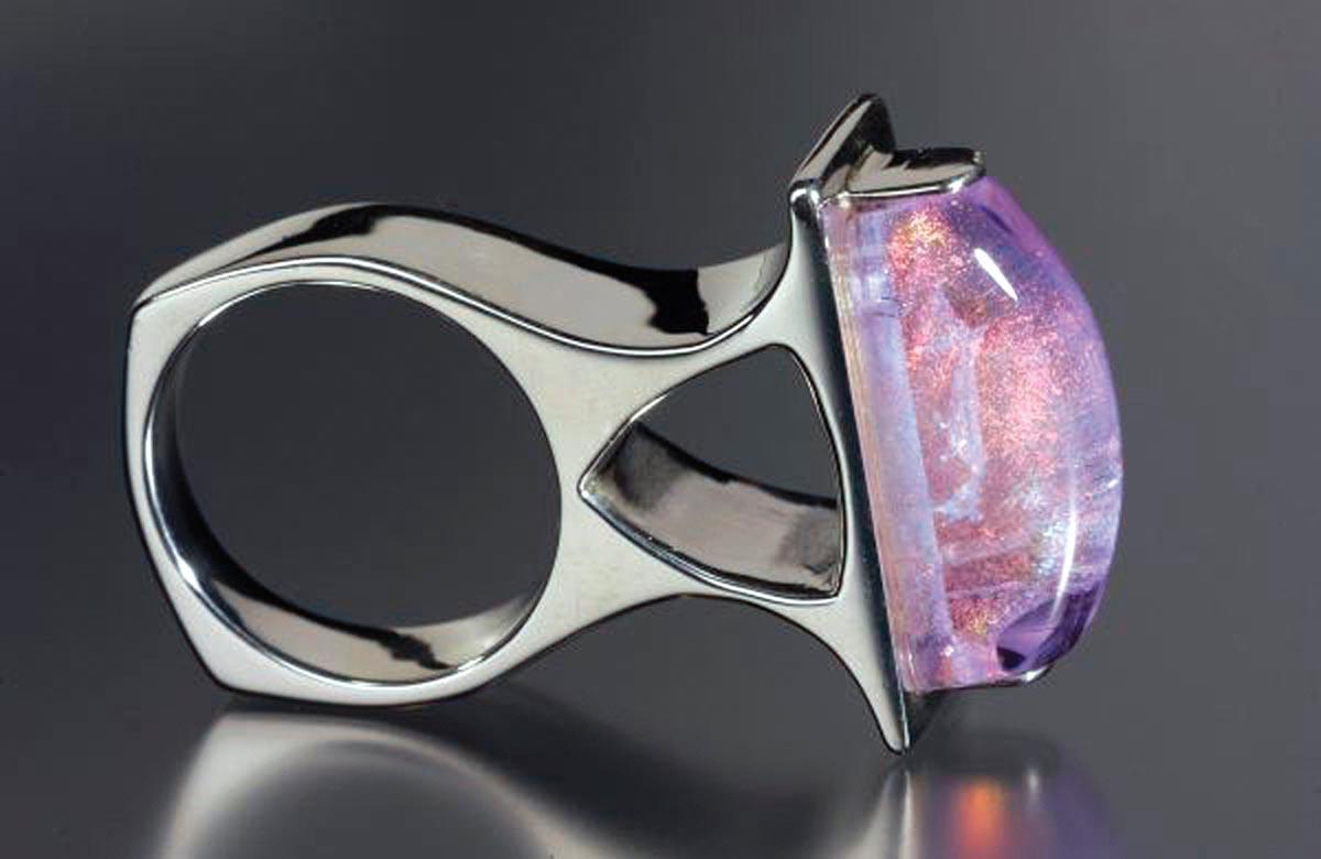 "Susan Thornton, Bridge Ring, Sterling Silver, Alexandrite and Dichroic Italian glass, 2"" x 1"" x .5"""
