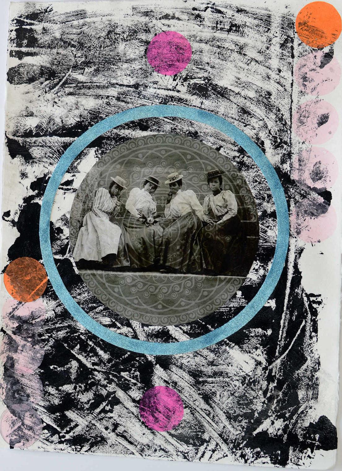 """Michael Reece,Quatre Femmes,2016, Archival pigment print, black gesso, tissue paper, glitter on watercolor paper, 32"""" x 24"""""""