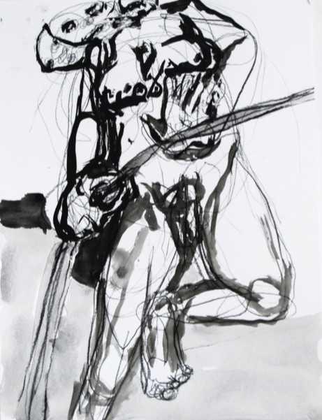 "William Downs,hermaphroditey, 2016, Ink was on canvas paper, 16"" x 20"""