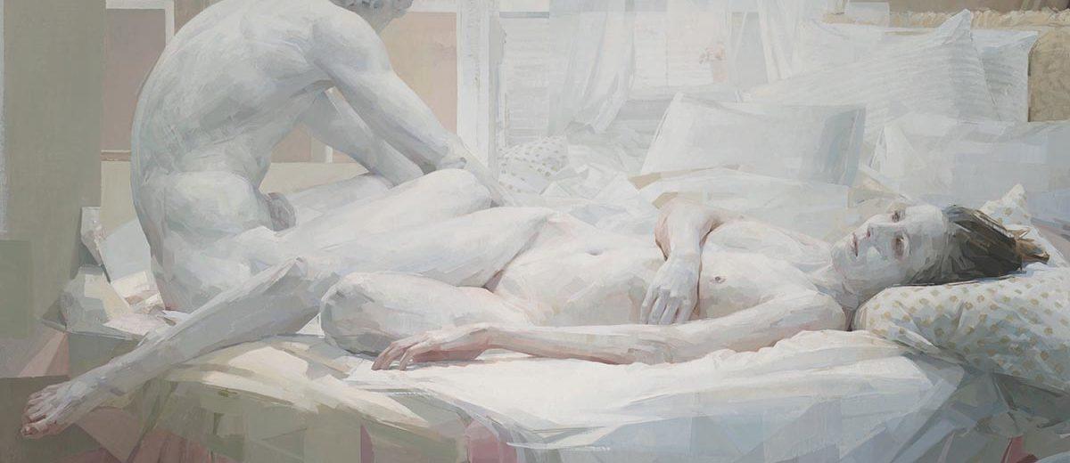 """White Bed, Oil on linen, 55"""" x 76"""""""