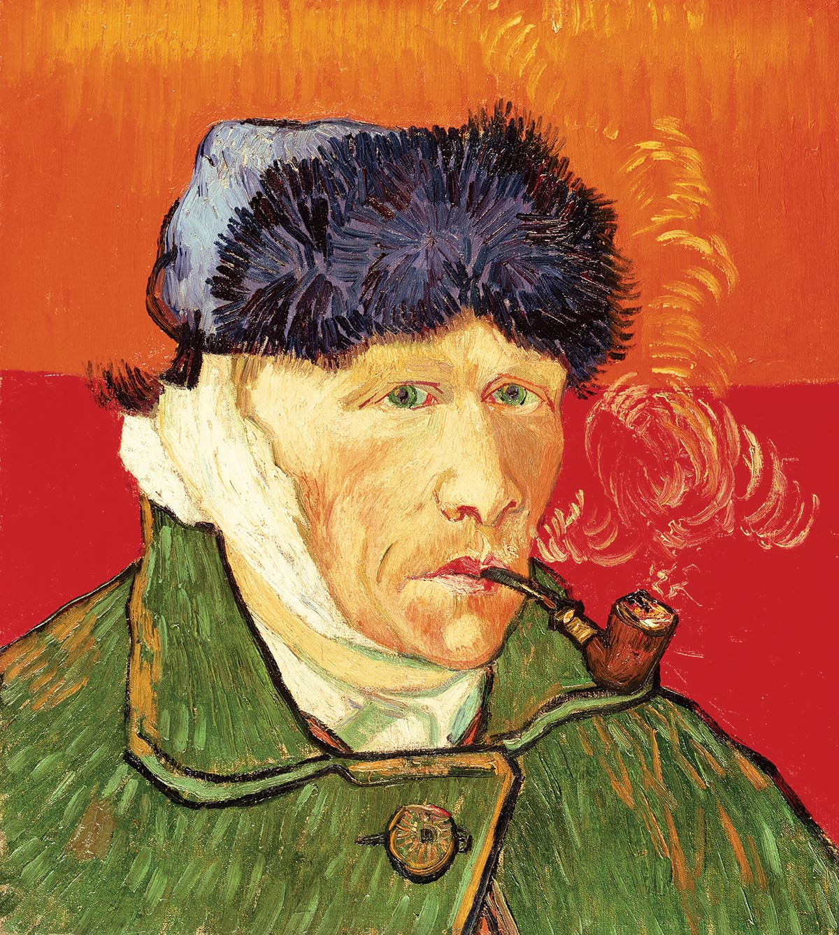 MFA213437 Self Portrait with Bandaged Ear and Pipe, 1889 (oil on canvas) by Gogh, Vincent van (1853-90); 51x45 cm; Private Collection; Dutch, out of copyright