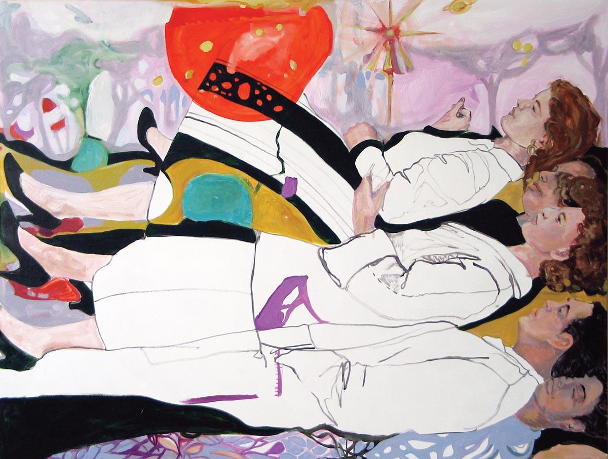"April Street, RingToss, Acrylic on canvas, 52"" x 68"""