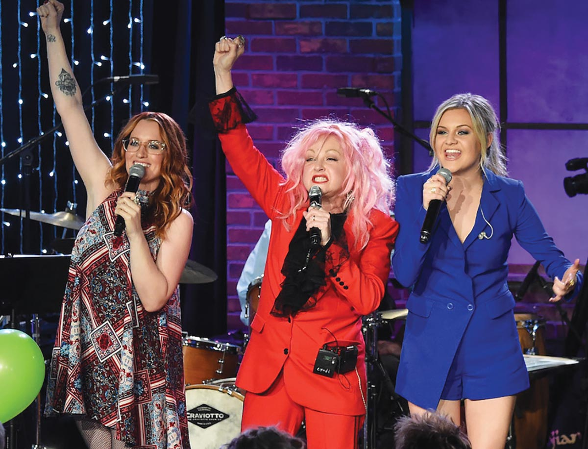 NASHVILLE, TN - JANUARY 28: Ingrid Michaelson, Cyndi Lauper, and Kelsea Ballerini perform at Skyville Live Presents Girls Just Wanna Have Fun with Cyndi Lauper on January 28, 2016 in Nashville, Tennessee. (Photo by Rick Diamond/Getty Images for Skyville)