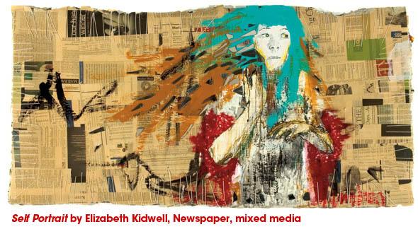 Self Portrait by Elizabeth Kidwell, Newspaper, mixed media