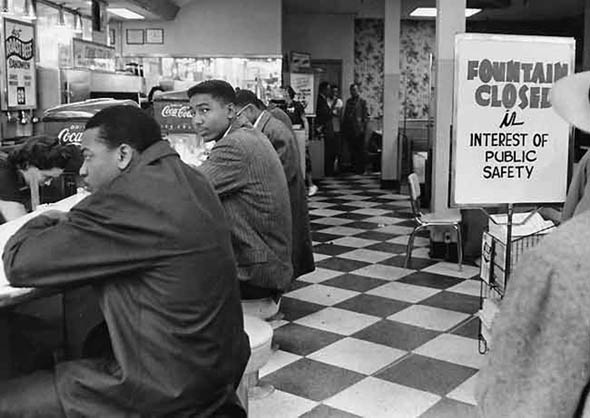 Student protesters sit-in at Walgreens on Fifth Avenue in Nashville, February 20, 1960. Photo by Jimmy Ellis, courtesy of The Tennessean.