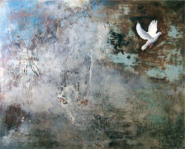 Memory and Transfiguration, 2009 -60X48X2-Coffee, wine, oil and hydrocal on canva