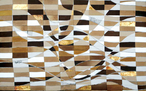 Vessel, 2007 -58X36X2-Coffee, gold leaf, oil and hand stitching on canvas