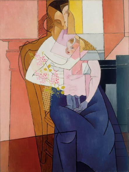 Gino Severini, Femme et Enfant (Woman and Child), 1916, Oil on burlap