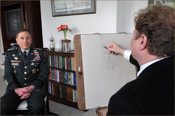 The artist with General David Petraeus