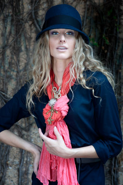 """Brixby Portman navy wool hat, Imogene + Willie, $60 """"Many Will See"""" anchor necklace, Imogene + Willie, $345 Crushed silk scarf by Eileen Fisher, Dillard's, $82 Organic cotton voile blouse by Eileen Fisher, Dillard's, $158 Bark OBI leather belt by Eileen Fisher, Dillard's, $128"""