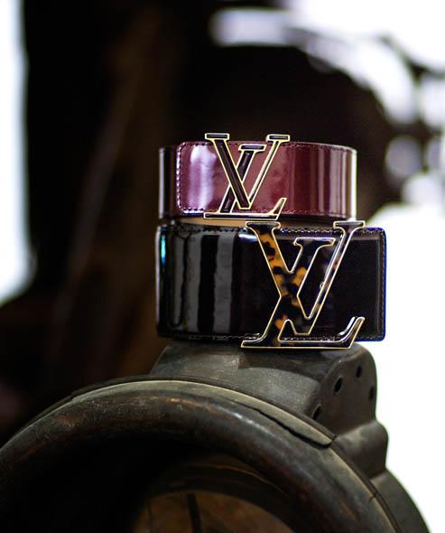 LV Initials 40 Vernis leather belt (rouge fauviste), $675; LV Initials 60 Ecaille leather belt (amarante), $805 Available at Louis Vuitton, Nashville