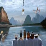 "Li River Flyby, 2010, oil on canvas, 36"" x 48"""