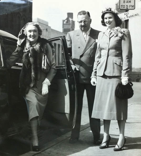 Mr. & Mrs. Ted Murray, and Mrs. O'Neal Clayton, Easter Sunday 1949. The ladies are wearing Balenciaga daywear.