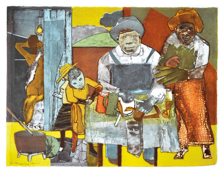 The Family deluxe edition by romare Bearden, nine-plate color etching
