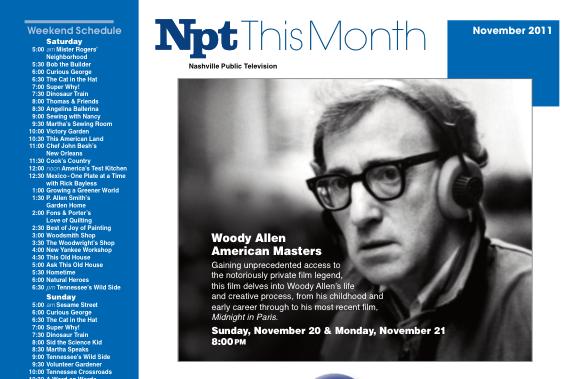 November 2011 NPT TV Guide Schedule