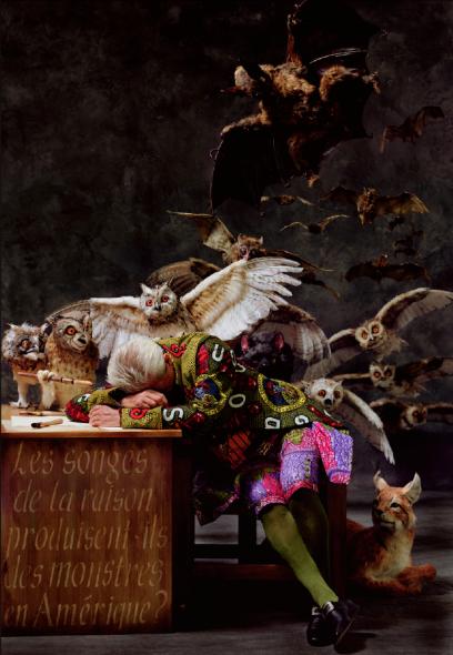 "Yinka Shonibare, The Sleep of Reason Produces Monsters (America), 2008, C-print mounted on aluminum, 72"" x 49 1/2"", Edition 3 of 5, Collection of James P. Gray, II, © Yinka Shonibare"