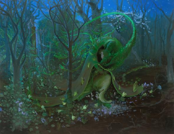 "Inka Essenhigh, Green Goddess I, 2009, Oil on canvas, 60"" x 78"", Courtesy of the artist"