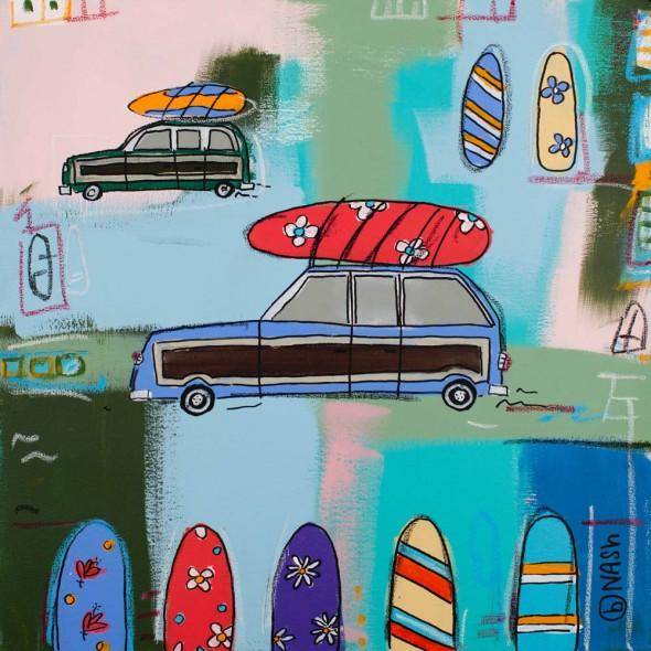 "woody wagon and boards, 2012, Acrylic, 24"" x 24"""