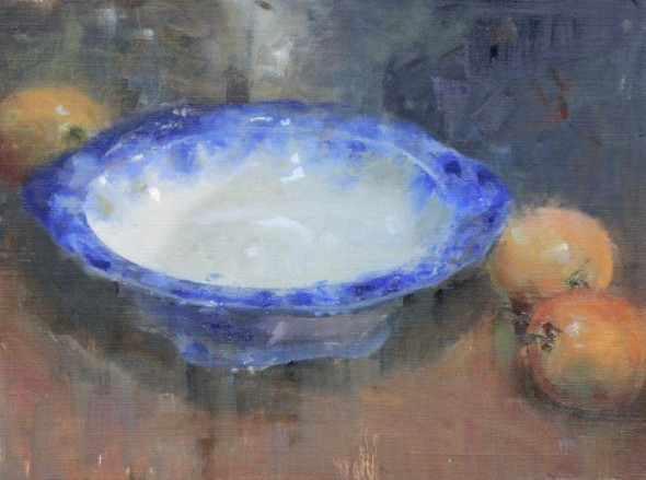 "Flow Blue and Apples, Oil on linen, 14"" x 18"""