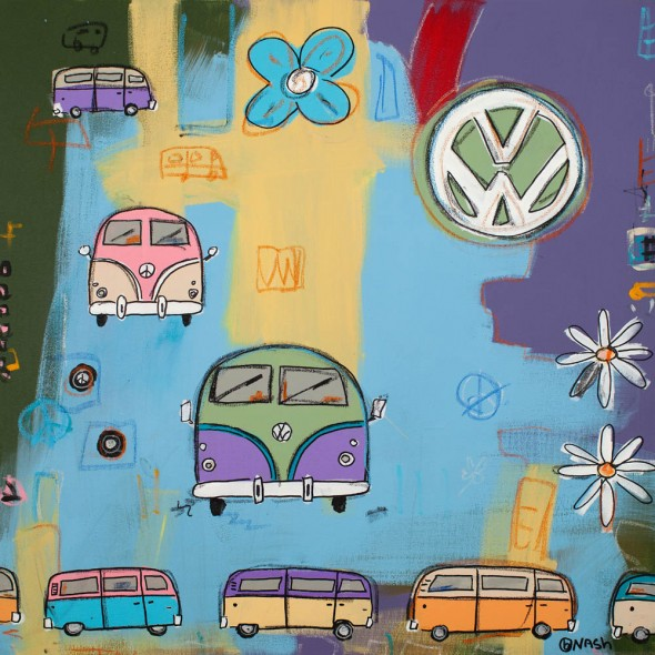 """van and flowers, 2012, Acrylic and oil stick, 36"""" x 36"""""""