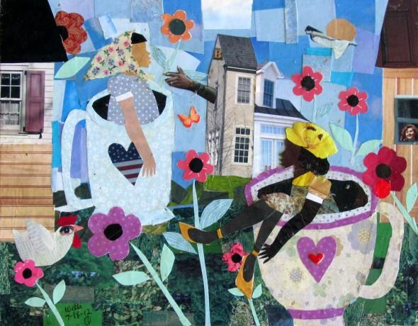 Della Wells, A Tea Cup Moment for Two 11 x 14, mixed media, 2012