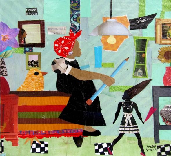 Della Wells, CorasRoom, 12x12, mixed media, 2012