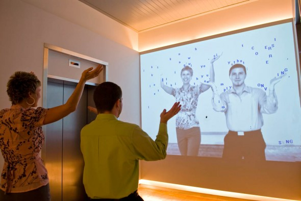 21C Museum Hotel: Text Rain art installation