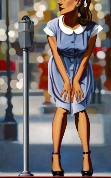 "Curbside, Oil on canvas, 72"" x 36"""