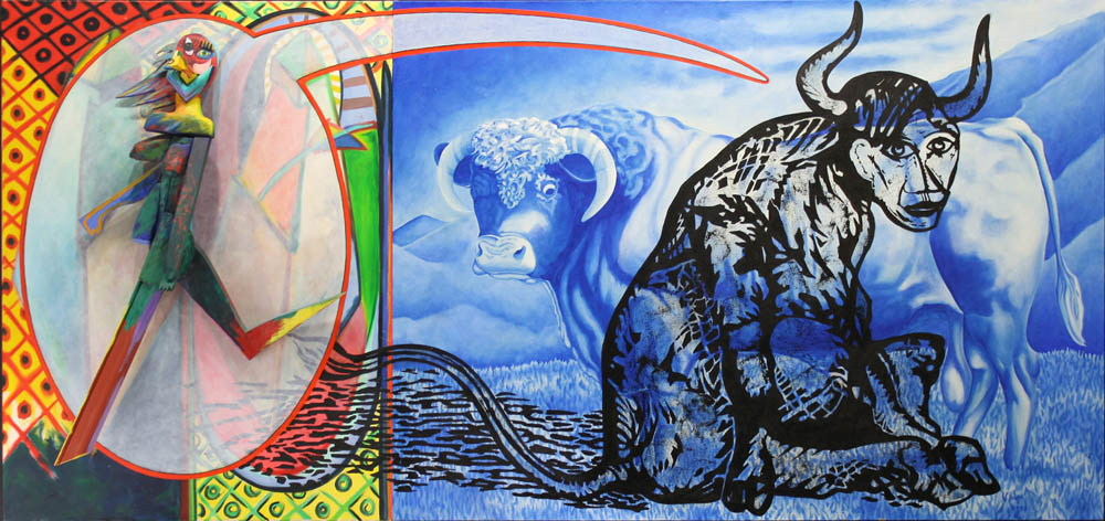 "Blue Bull, 2008, Mixed media on wood and canvas, 48"" x 102"""