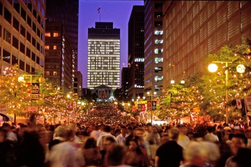 """Arts, Music, Dance, 1993 - """"It's Summer Lights"""" The American General building appropriately lit up with thousands of music lovers amassed below for Summer Lights"""