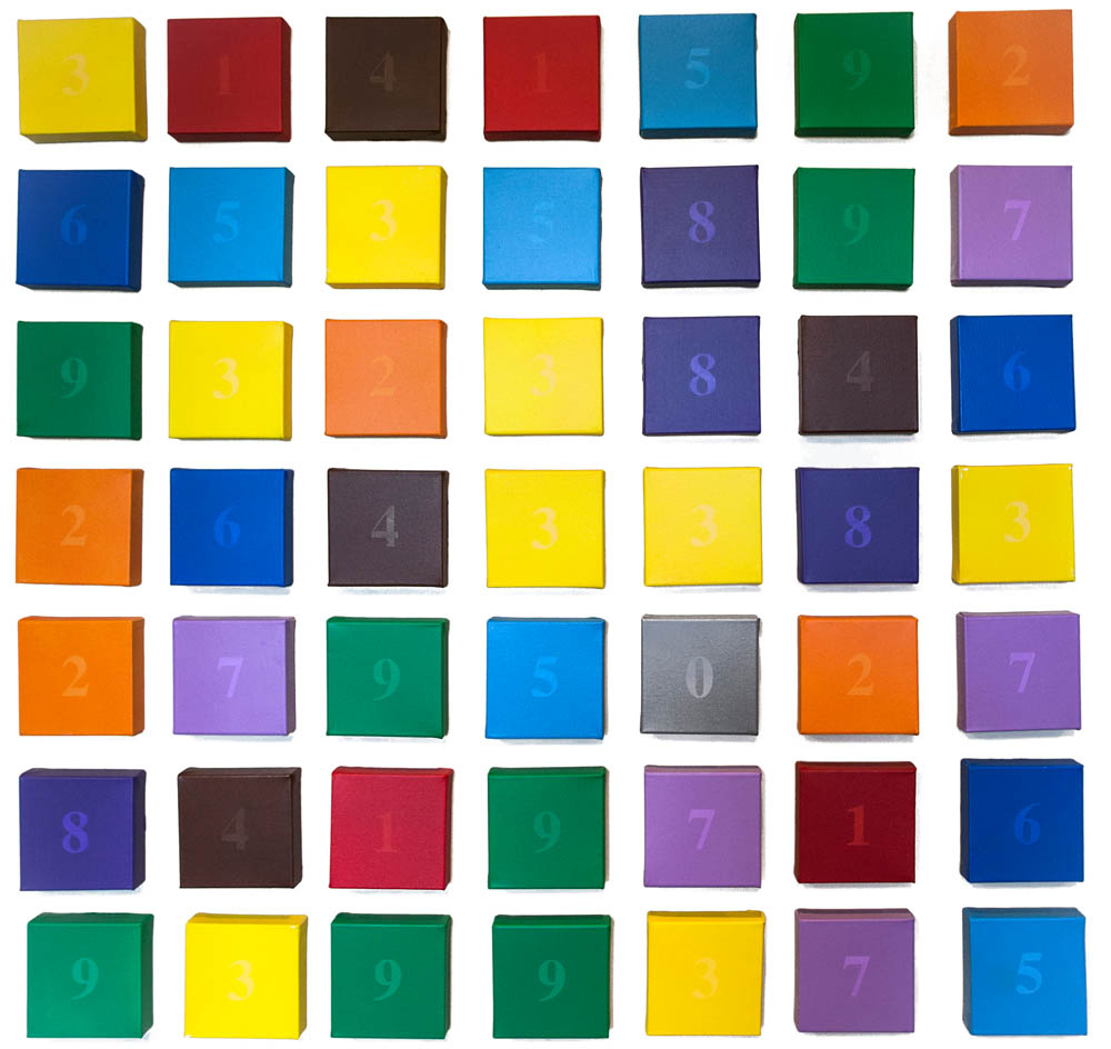 "Opus 28 - Pi Synesthesia with Numbers, 2012, Acrylic on canvas, 54"" x 54"""