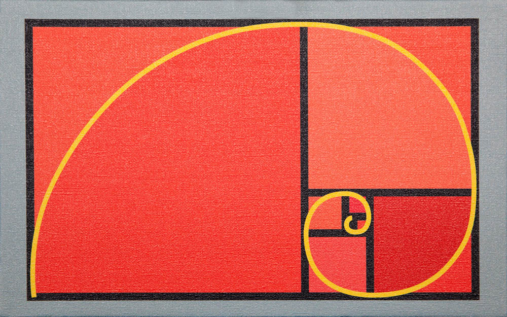 "Opus 54 (a, b, c, d & e) - Divine Proportion, 2013, uV ink on canvas, 9.5"" x 15.37"" each"
