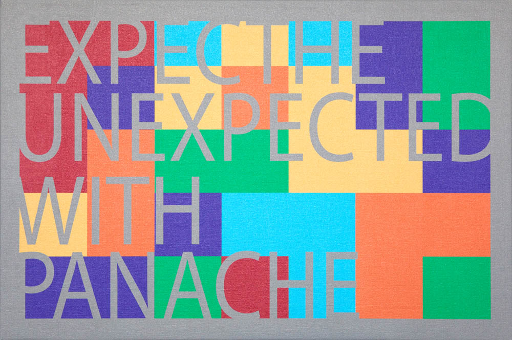 "Opus 31 - Expect the Unexpected with Panache (triptych), 2012, uV ink on canvas, 44"" x 96"""