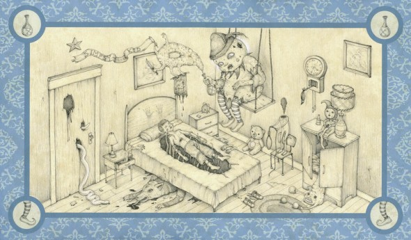 "Simpsy Kid, 2006, Graphite, gesso, archival inkjet, 12.5"" x 19.5"""